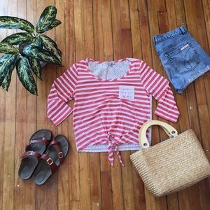 Charlotte Russe Pink & White Striped Top